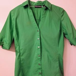 Green short sleeve button up blouse